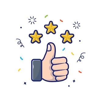 Pollice in alto con illustrazione di stelle dorate. rivedi e fornisca il feedback, bianco di concetto dell'icona della ricompensa isolato