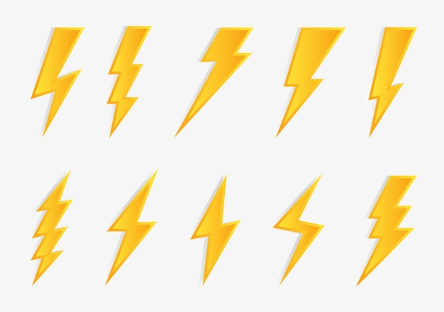 Set di icone flash illuminazione tuoni e bulloni