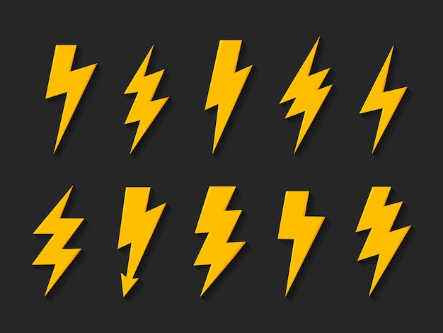 Icona di vettore del fulmine di tuono set di icone flash di illuminazione del fulmine e del fulmine