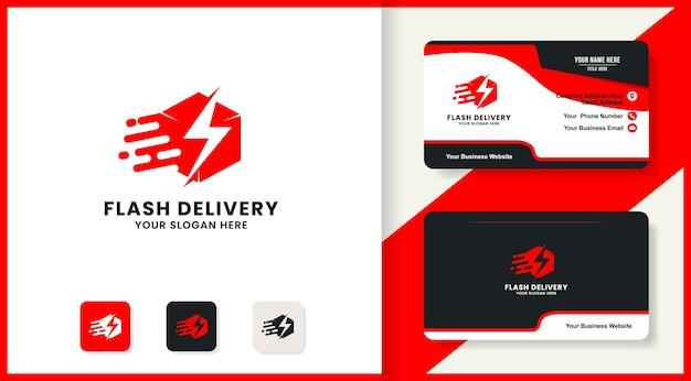Design del logo e biglietto da visita per la consegna della scatola del tuono
