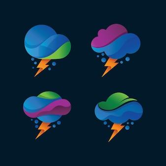 Logo di tuoni e nuvole impostato in vettoriale