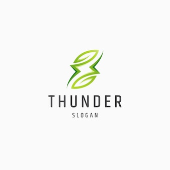 Thunder leaf natura eco energia logo icona design modello piatto illustrazione vettoriale