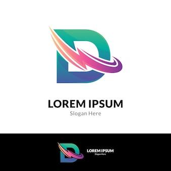 Modello di concetto di logo di lettera d di tuono