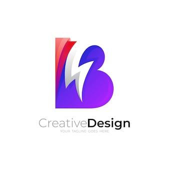 Combinazione di design con logo thunder e lettera b, stile semplice
