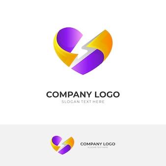 Logo thunder e combinazione di design per la cura dell'amore, icona sociale