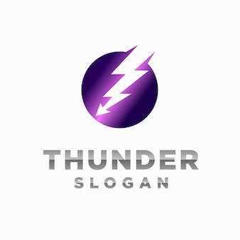 Logo del tuono con il concetto di freccia