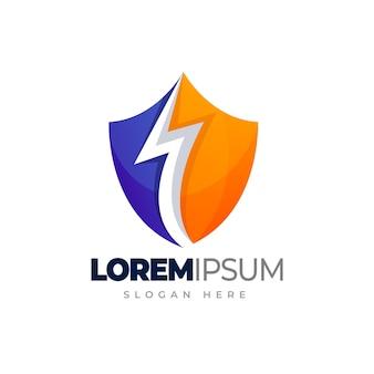 Logo scudo di tuono scudo con modello di logo sfumato lampo