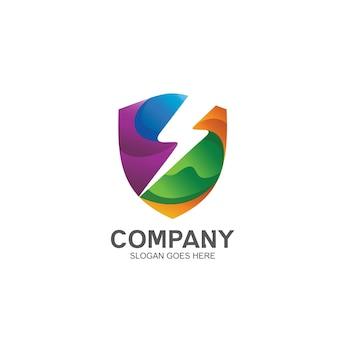 Logo di tuono e scudo