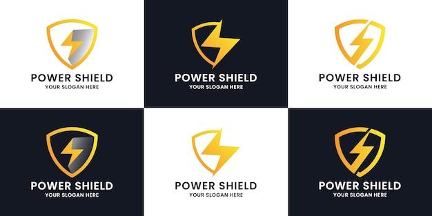 Design del logo di ispirazione del potere dello scudo del tuono