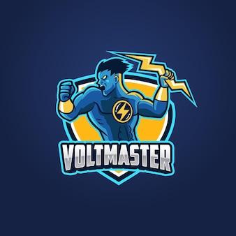 Logo della mascotte del supereroe del tuono