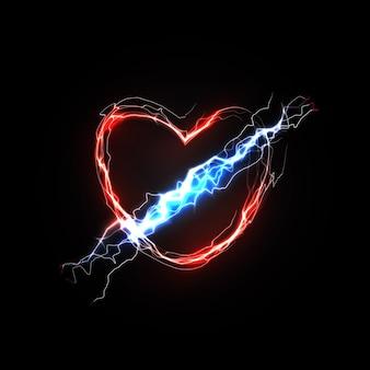 Fulmine nell'amore del cuore e nei sentimenti associati all'amore simbolo astratto di passione e amore