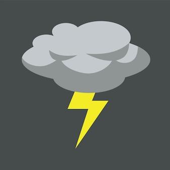 Illustrazione di vettore di design piatto nuvola grigia temporale