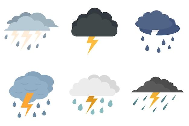 Set di icone di temporale. set piatto di icone vettoriali temporale isolato su sfondo bianco