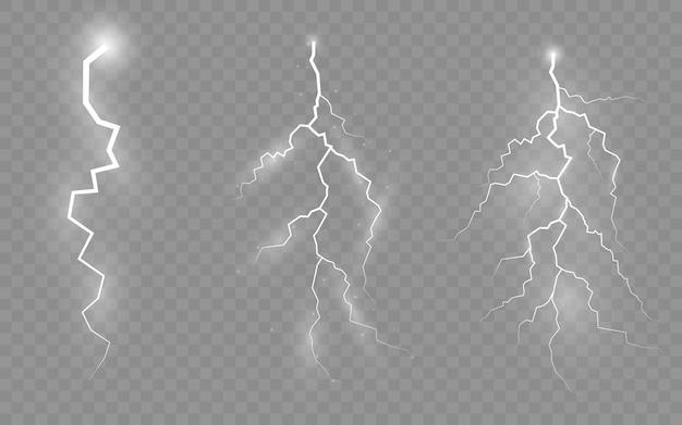 Temporali e fulmini, l'effetto di lampi e luci, set di cerniere lampo, simbolo di forza naturale o magia, luce e splendore, astratto, elettricità ed esplosione, illustrazione,