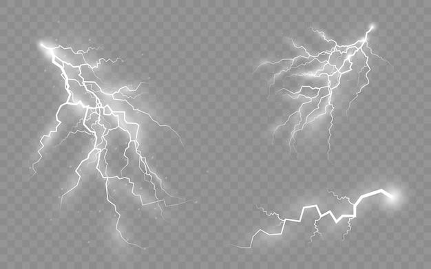 Temporali e fulmini, l'effetto di fulmini e luci, set di cerniere lampo, simbolo di forza naturale o magia, luce e splendore, astratto, elettricità ed esplosione, illustrazione vettoriale,