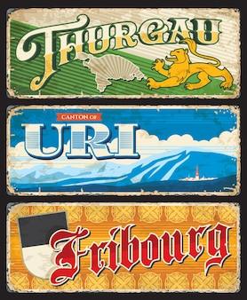 Turgovia, uri e friburgo svizzera cantoni svizzeri regioni grunge retro targhe in latta, striscioni di destinazioni con tipografia antica. mappa del cantone e stemma leone, punti di riferimento del territorio e bandiera