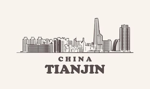 Illustrazione disegnata a mano della cina di schizzo di paesaggio urbano di tianjin