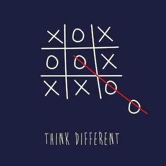Tic tac toe: pensa in modo diverso - pensa fuori dagli schemi banner