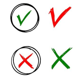 Spuntare e incrociare i segni neri. segno di spunta grigio ok e x icone, isolate su sfondo bianco. progettazione grafica di segni semplici. simboli del cerchio s e no pulsante per voto, decisione, web. illustrazione vettoriale.