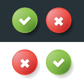 Segni di spunta e croce 3d colori verde e rosso. illustrazione vettoriale.