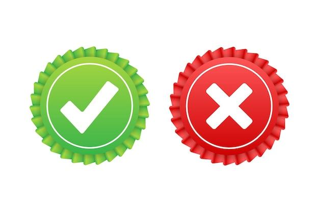 Segni di spunta e croce. segno di spunta verde ok e icona x rossa. simboli s e no pulsante per il voto. illustrazione di riserva di vettore.