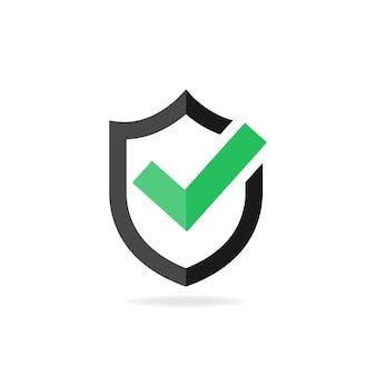 Segno di spunta icona approvato. segno di spunta verde con scudo nero. illustrazione vettoriale eps10