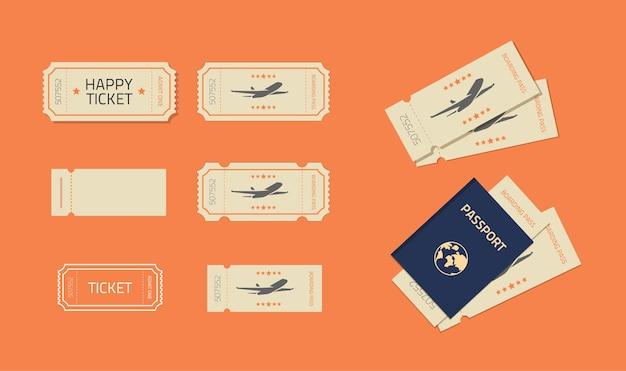 Modello di modello di biglietto o coupon impostato per volo in aereo o spettacolo teatrale al cinema vecchio vintage
