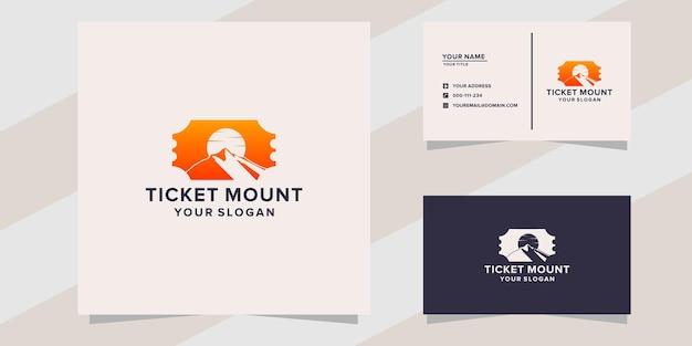 Modello di logo della montagna del biglietto