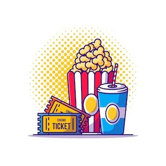 Biglietto, pop corn e bevanda del fumetto. cinema icona concetto bianco isolato. stile cartone animato piatto