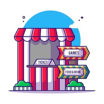 Biglietteria e segno festival cartoon illustrazione. concetto dell'icona del parco di divertimenti bianco isolato. stile cartone animato piatto