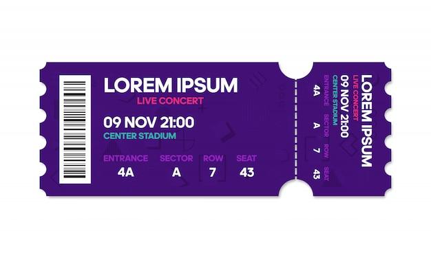 Modello di biglietto, biglietto per concerti e film.