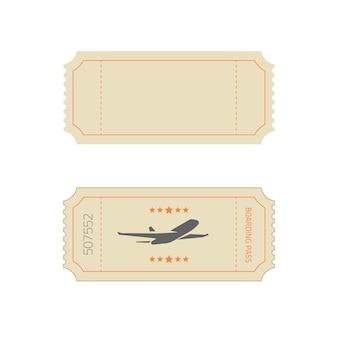 Modello di biglietto in vecchio stile retrò vintage come vettore vuoto vuoto ed esempio di carta d'imbarco