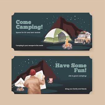 Modello di biglietto con concetto di camper felice Vettore Premium