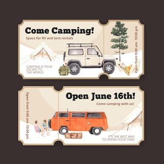 Modello di biglietto con concetto di camper felice