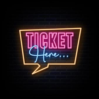 Biglietti qui divertenti insegne al neon artistiche vector