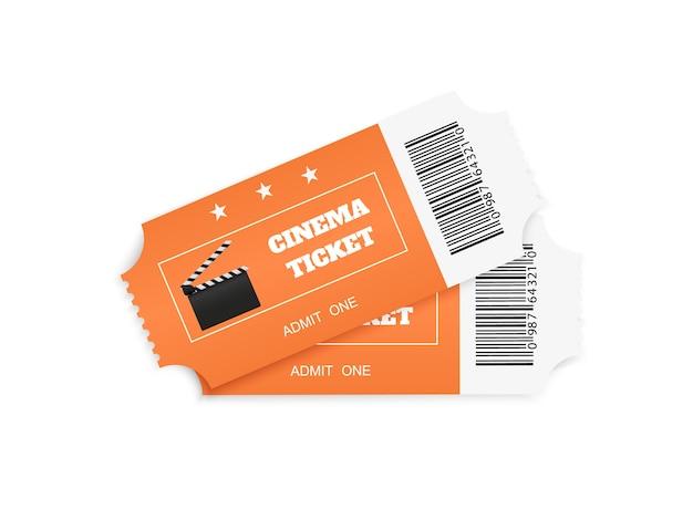 Biglietti isolati su sfondo bianco. vista frontale realistica. biglietto per il cinema a colori.