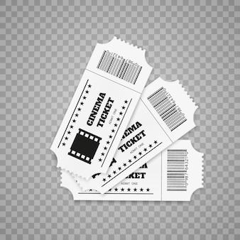 Biglietti isolati su sfondo bianco. vista frontale realistica. biglietto del cinema.