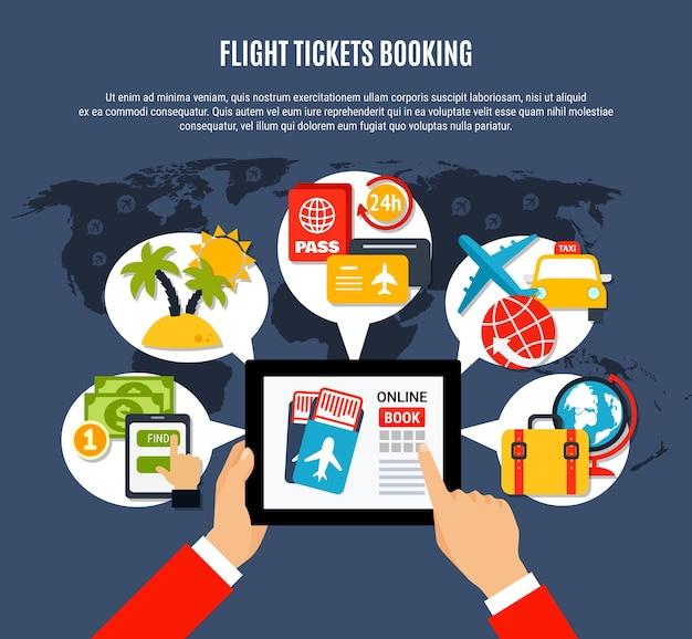 Biglietti per la prenotazione online di un poster di viaggio aereo con pubblicità piatta con tablet che tiene in mano la scelta delle opzioni di volo