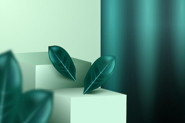 Tidewater green, passerelle, foglie e tendaggi. modello pubblicitario di cosmetici alla moda.