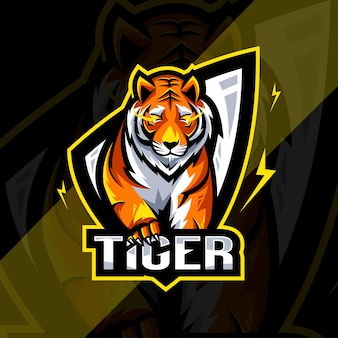 Tiger arrabbiato mascotte logo esport design