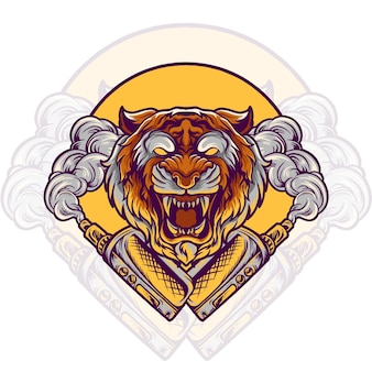 Tiger animal vaping vape store illustration