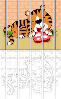 Cartone animato tigre sulla gabbia