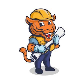 Tigre cartone animato retrò imprenditore vintage o operaio edile personaggio mascotte logo.