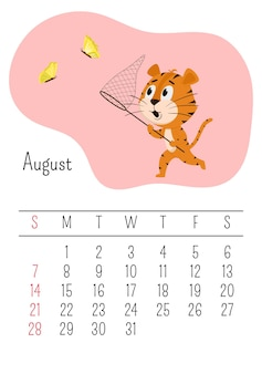 La tigre cattura le farfalle con una rete. pagina del calendario verticale per agosto 2022 con una tigre cartone animato