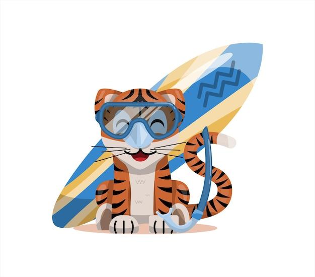 Cucciolo di tigre con segno zodiacale acquario segno zodiacale icona vettore fumetto illustrazione oroscopo e...