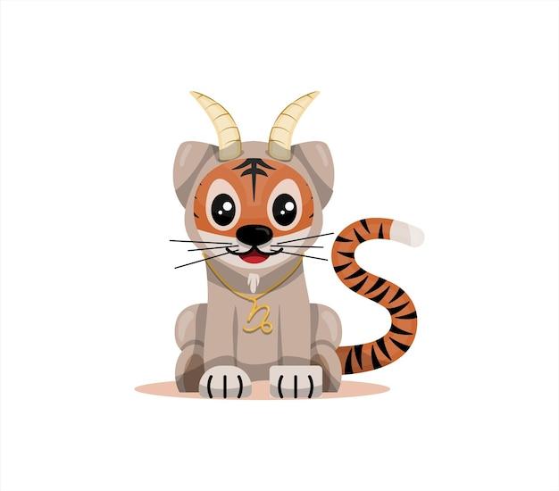 Cucciolo di tigre con segno zodiacale capricorno segno zodiacale icona vettore fumetto illustrazione oroscopo e...