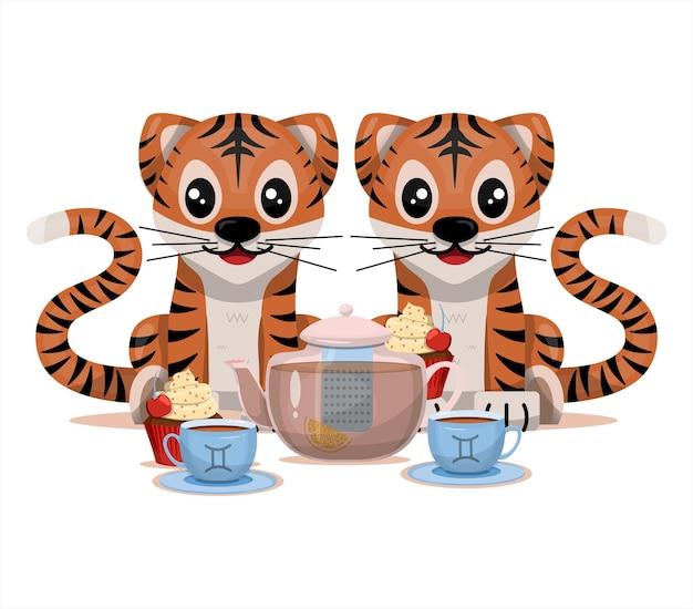 Cucciolo di tigre con segno zodiacale gemelli segno zodiacale icona vettore fumetto illustrazione oroscopo ed e...