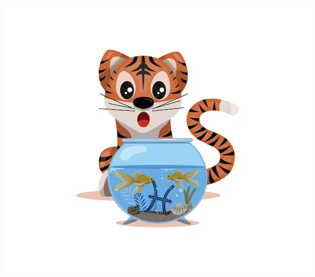 Cucciolo di tigre con segno zodiacale pesci segno zodiacale icona vettore fumetto illustrazione oroscopo ed e...
