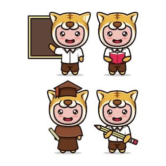 Insieme di vettore dell'illustrazione di progettazione relativa all'istruzione della mascotte sveglia della tigre