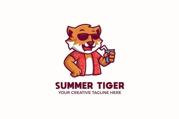 Modello di logo della mascotte del succo di bevanda della tigre